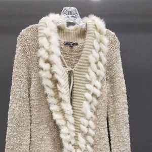 Cardigan with fur accents